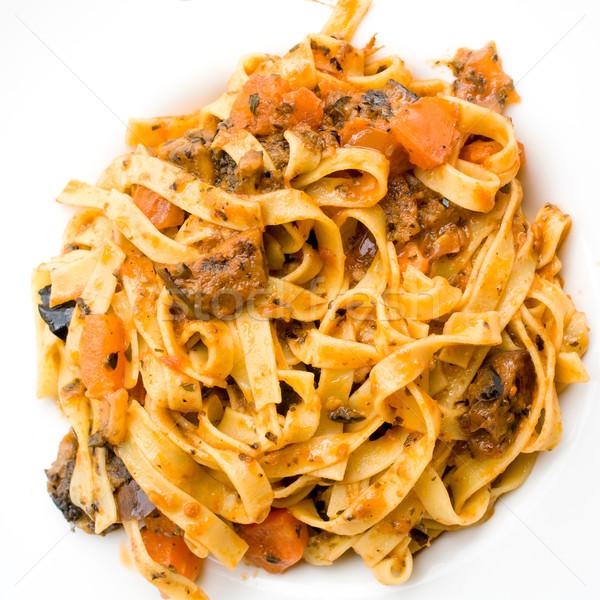 Spaghetti with aubergine Stock photo © ilolab