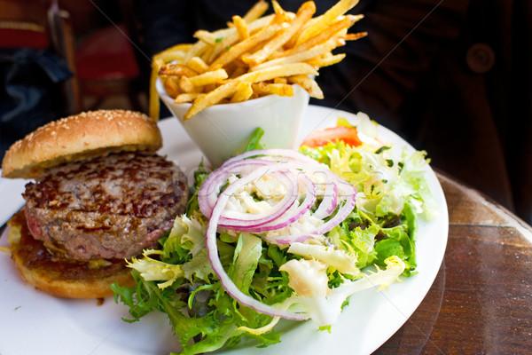 Sajt hamburger amerikai friss saláta étterem Stock fotó © ilolab
