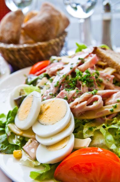 Frischen Salat Tomaten Abendessen Olivenöl Stock foto © ilolab