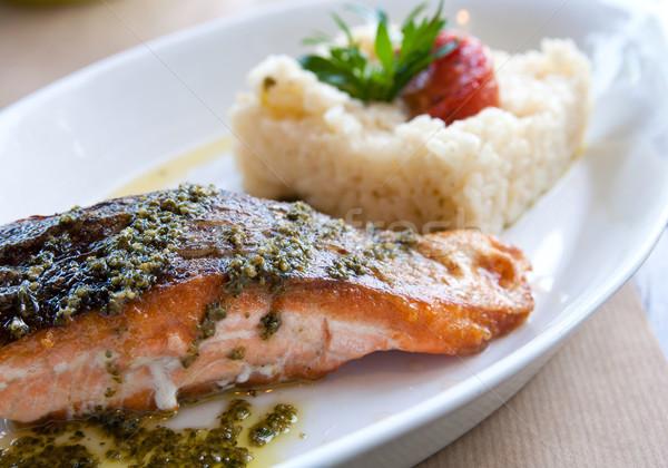 гриль лосося Французская кухня блюдо томатный рыбы Сток-фото © ilolab
