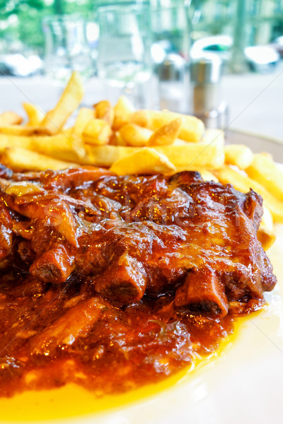 Gegrild vlees plaat hete saus blad restaurant Stockfoto © ilolab