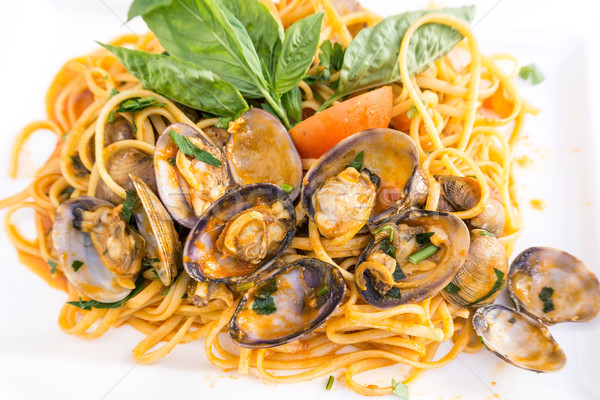 Pasta with Clam Dinner Dish on a the table Stock photo © ilolab