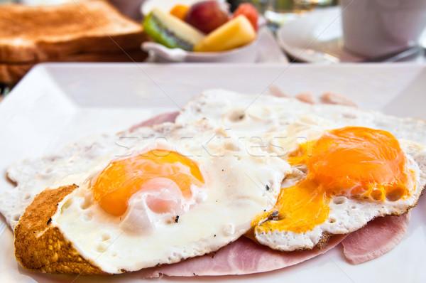 Preparato uovo prosciutto isolato sole alimentare Foto d'archivio © ilolab