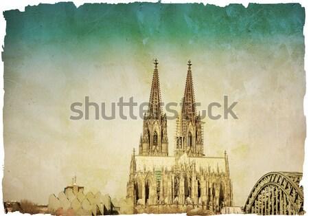 Style rétro gothique cathédrale Allemagne bâtiment Photo stock © ilolab