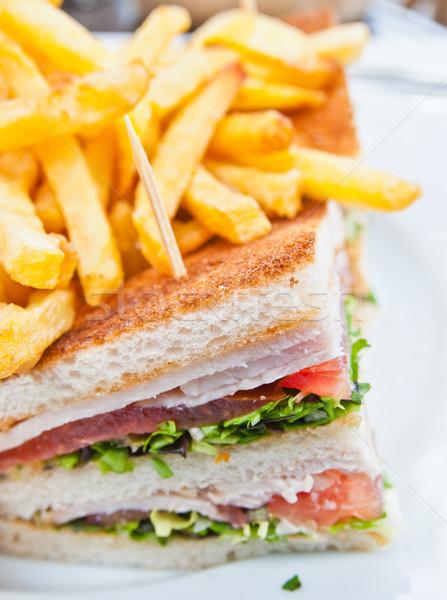 Stok fotoğraf: Sandviç · domuz · pastırması · tavuk · peynir · marul · gıda