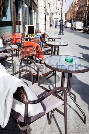Photo stock: Café · terrasse · vue · sur · la · rue · vide