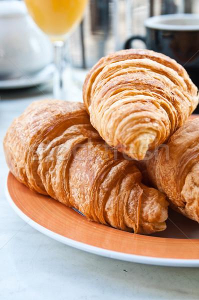Stock fotó: Reggeli · kávé · croissantok · kosár · asztal · narancs