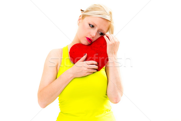 sad woman holding red valentine heart Stock photo © ilolab