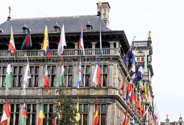 Geleneksel şehir salon kare sokak bayrak Stok fotoğraf © ilolab