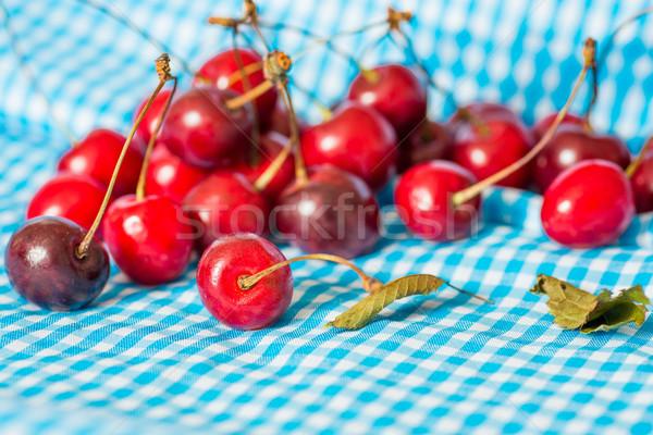 新鮮な チェリー 青 ナプキン フルーツ 緑 ストックフォト © ilolab