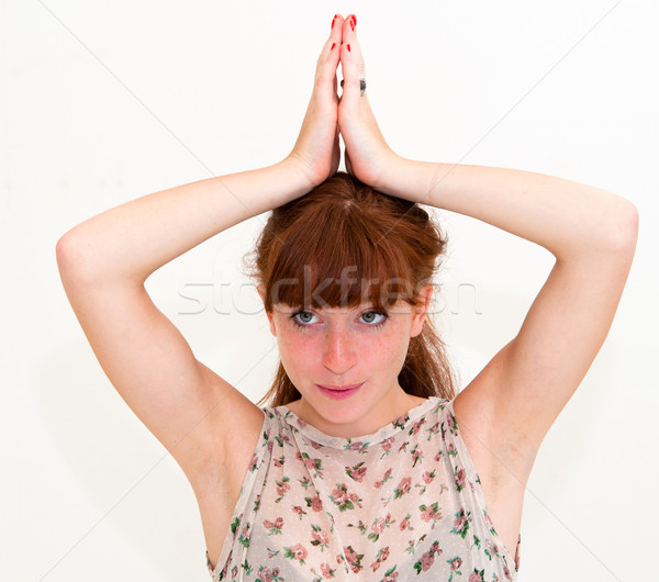Poulet jeune femme beauté amusement portrait Photo stock © ilolab