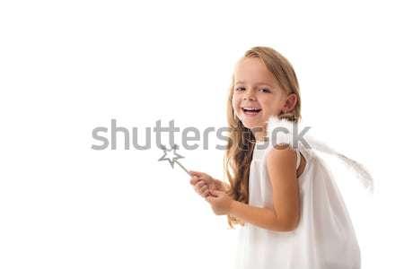 Stockfoto: Weinig · fairy · engel · lachend · geïsoleerd