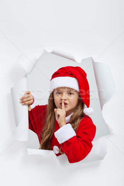 Little girl in christmas outfit telling you a secret Stock photo © ilona75