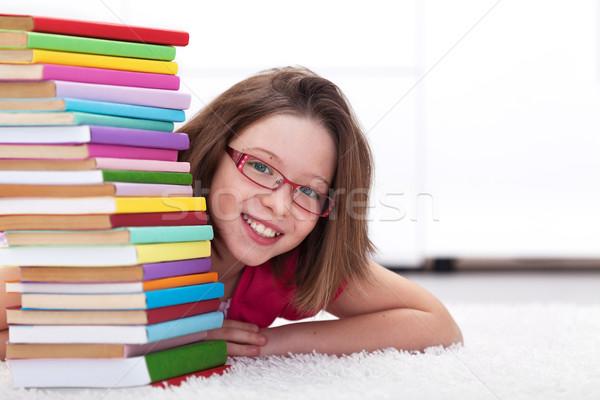 Stockfoto: Jonge · student · boeken · glimlachend · gelukkig · gezicht