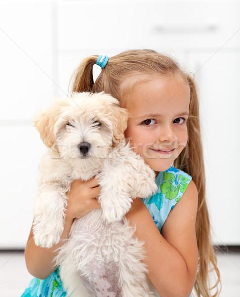 Kicsi kutyus boldog kislány ölel díszállat Stock fotó © ilona75