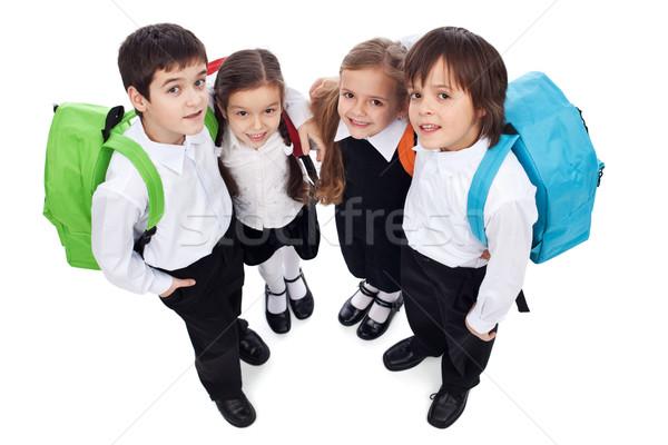 Stock foto: Glücklich · Schule · Kinder · zurück · halten · andere