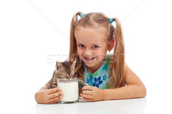 Stok fotoğraf: Bana · benim · küçük · kedi · yavrusu · mutlu · küçük · kız