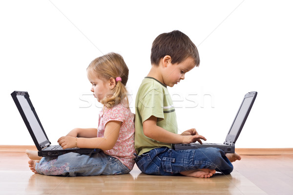 Siblings using laptops Stock photo © ilona75