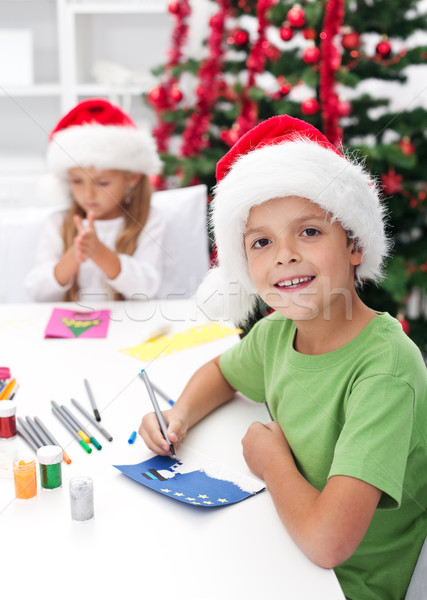 Kids making christmas greeting cards Stock photo © ilona75