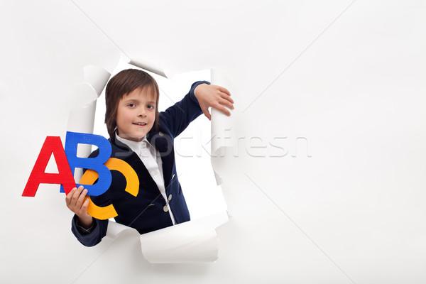 Сток-фото: время · узнать · молодые · школьник · красочный · алфавит