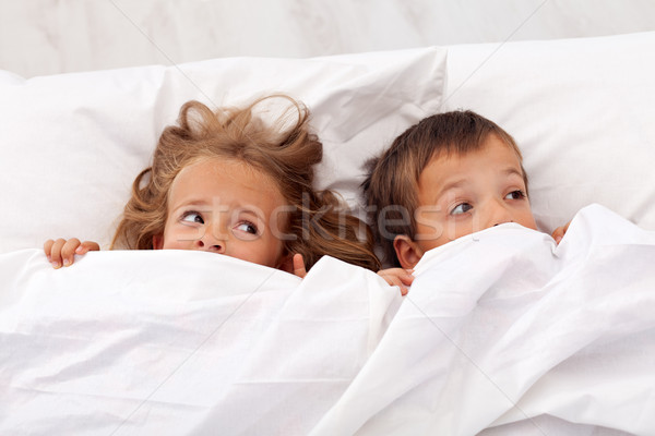 Kids afraid pulling the quilt on their heads Stock photo © ilona75
