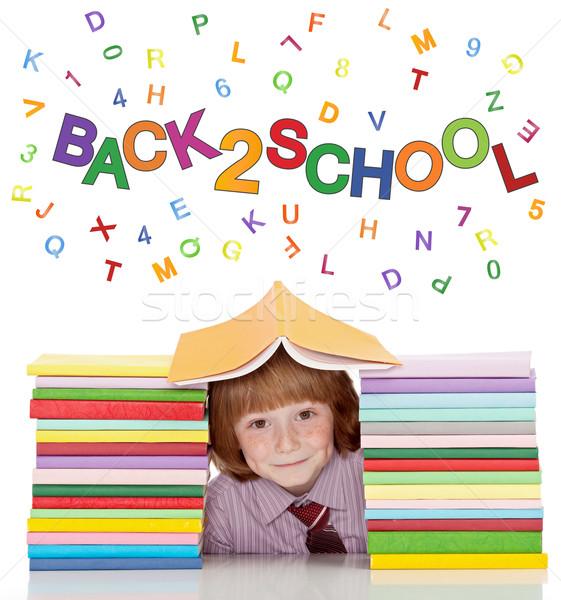 Stockfoto: Klein · schooljongen · shirt · stropdas · boeken