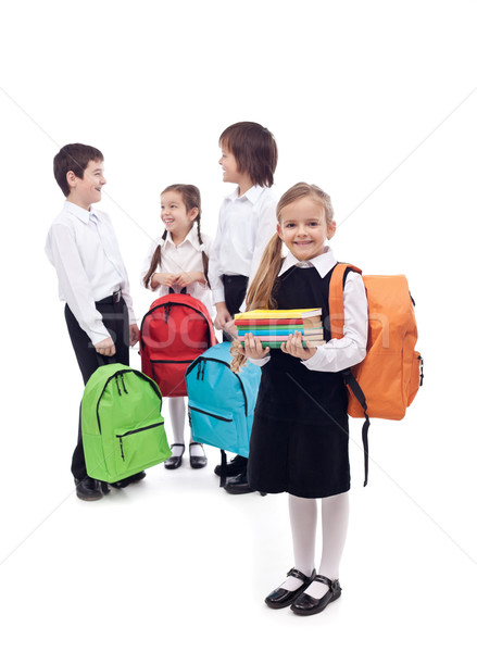 Happy school kids group Stock photo © ilona75