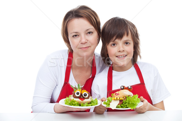 Woman and boy presenting their creative sandwiches Stock photo © ilona75