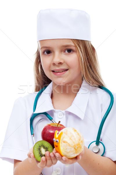 女の子 演奏 医師 提供すること 果物 ストックフォト © ilona75
