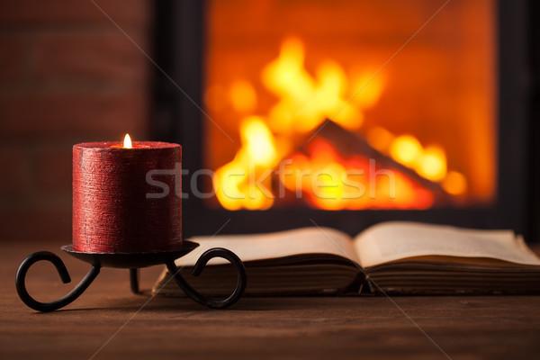 Reading by the fireplace Stock photo © ilona75