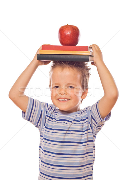 Playing with school books and apple Stock photo © ilona75