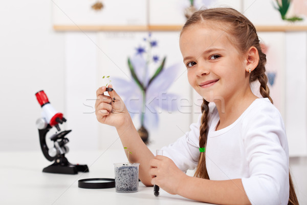 Young girl study plants in biology class Stock photo © ilona75
