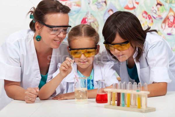 Kinder Chemie Klasse Lehrer einfache Experiment Stock foto © ilona75