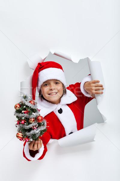 Feliz natal menino pequeno decorado Foto stock © ilona75