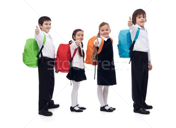 Back to school concept with happy kids giving thumbs up sign Stock photo © ilona75