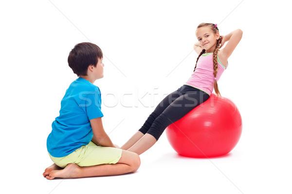 çocuklar egzersiz birlikte büyük jimnastik kauçuk Stok fotoğraf © ilona75
