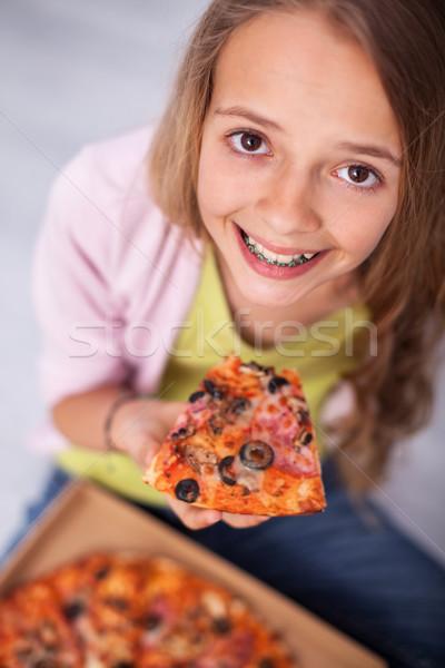 若い女の子 笑顔 着用 ブレース スライス ストックフォト © ilona75