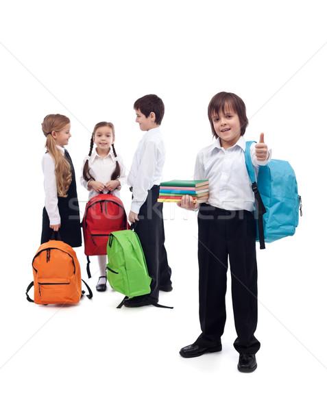 Stockfoto: Vrienden · school · terug · naar · school · gelukkig · lang · zomervakantie