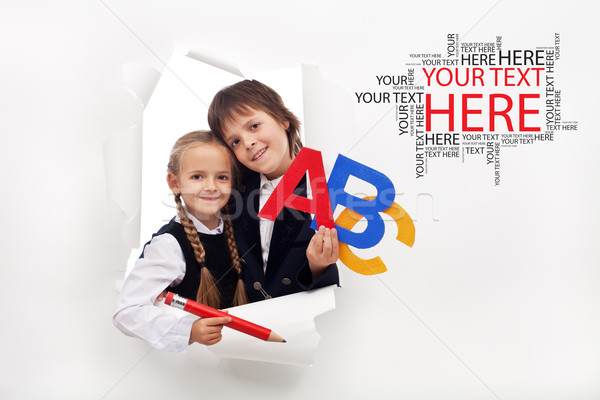 Zdjęcia stock: Powrót · do · szkoły · sezon · otwarcie · dwa · szczęśliwy · dzieci