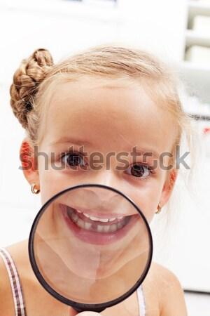 Güzellik çocukluk kız oyuncak ayı şaşırtıcı gözler Stok fotoğraf © ilona75