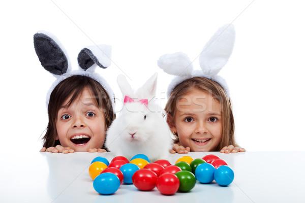 Feliz ninos Pascua tiempo blanco conejo Foto stock © ilona75