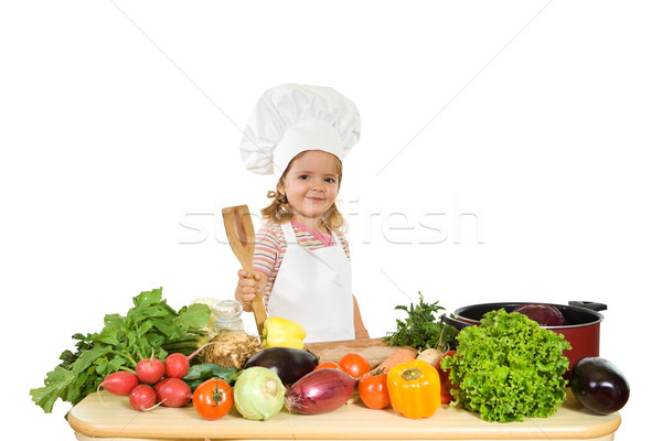 Feliz chef legumes little girl Foto stock © ilona75