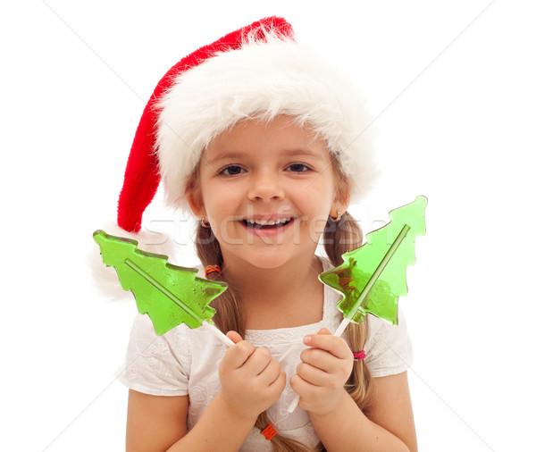 Foto stock: Feliz · nina · Navidad · tiempo · sombrero
