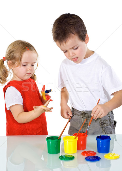 Kids having some fun with paints Stock photo © ilona75