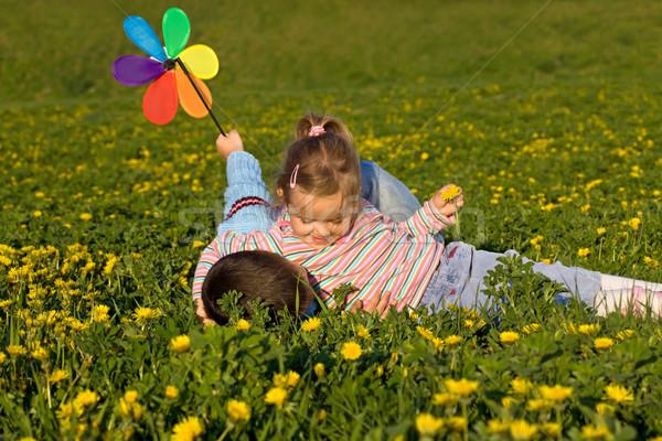 Kinderen worstelen familie Stockfoto © ilona75