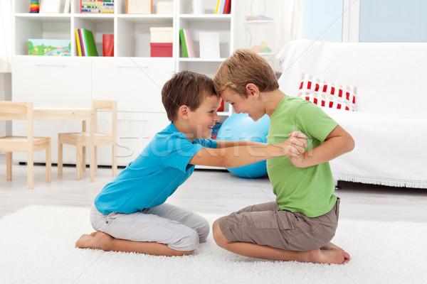 Two happy boys wrestling Stock photo © ilona75