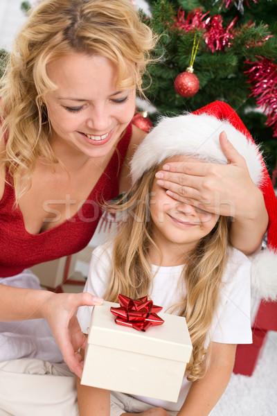 Niespodzianką christmas obecnej dziewczynka kobieta dziewczyna Zdjęcia stock © ilona75