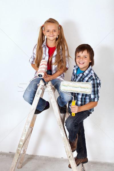 Heureux peintre enfants échelle vieux peinture Photo stock © ilona75
