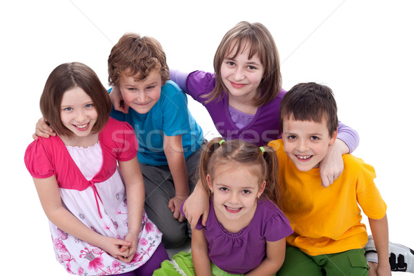 Grupo crianças amigos para sempre topo ver Foto stock © ilona75