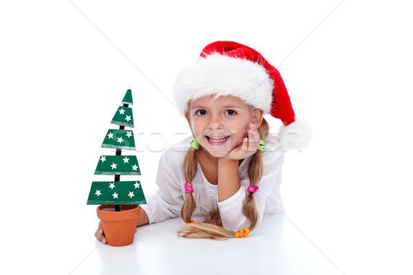 Zdjęcia stock: Happy · girl · christmas · dekoracji · choinka · Święty · mikołaj · hat